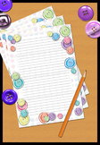 Buttons Writing Paper lined Printable PDF