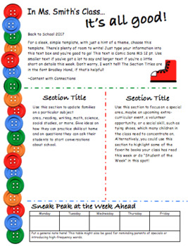 """Buttons and Shoes Newsletter Template (""""Pete the Cat"""")"""