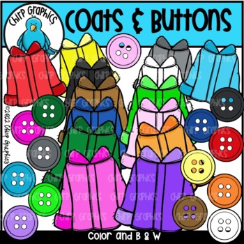Coats and Buttons Clip Art Set - Chirp Graphics