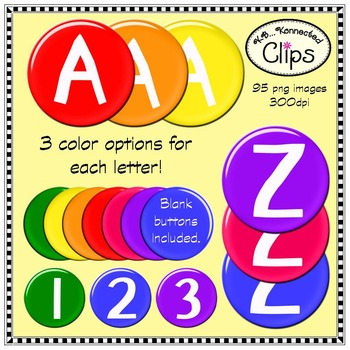 Buttons of Fun Letters and Numbers