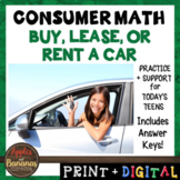 Buy, Lease, or Rent a Car - Consumer Math Unit (Notes, Pra