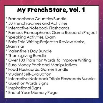 My French Lesson Plans, Activities, Games, Mega Bundle, Vol. 1