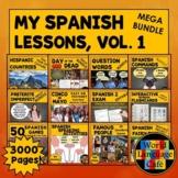 Spanish Lesson Plans, Spanish Activities, Games Mega Bundle, Vol. 1 (2500 Pages)