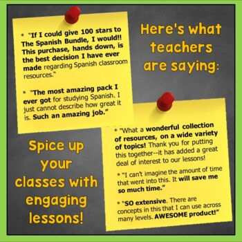 Spanish Lesson Plans, Spanish Activities, Games Mega Bundle, Vol. 1 (3000 Pages)