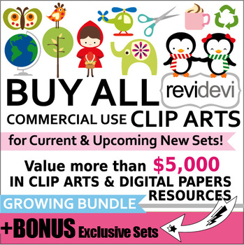 Buy all commercial use CLIP ART Growing Bundle (Lifetime A