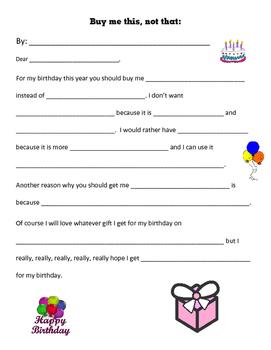 Buy me this not that Persuasive Writing Birthday
