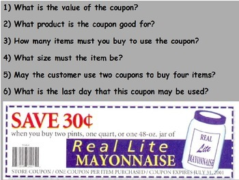 Buying Food - Reading and Understanding Coupons; Real World Math (POWERPOINT)
