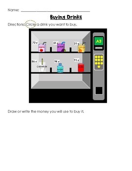 Buying  Food from a Vending Machine: Creating Coin Sets (Money)