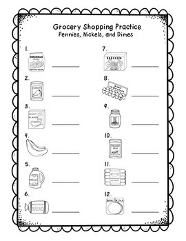 Money 1st Grade: Penny, Nickel, & Dime Practice