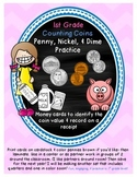 Money 1st Grade: Penny, Nickel, & Dime Practice