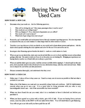 Buying New Or Used Cars Lesson