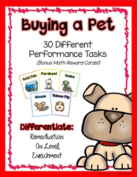 Buying a Pet - Math Performance Task Cards Money Bundle
