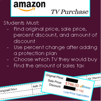 Buying a TV Online - Percent Discount, Percent Change, Tax, Real Life
