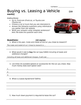 Practical Math: Buying and Leasing Vehicles
