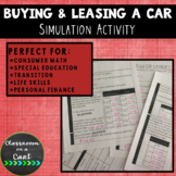 Buying and Leasing a Car Simulation Activity
