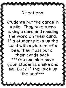BuzZZz! Primer Sight Word Game