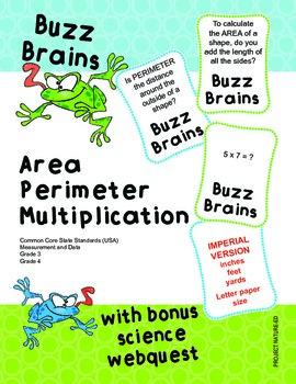 Buzz Brains (Mathematics) Area, Perimeter and Multiplication (Imperial)
