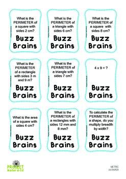 Buzz Brains (Mathematics) Area, Perimeter and Multiplication (Metric)