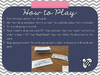 Sight Word Phrase Fluency Game