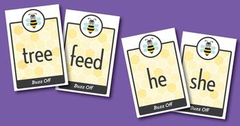 Buzz Off short e, open e, ee Phonics Game - Words Their Way Game