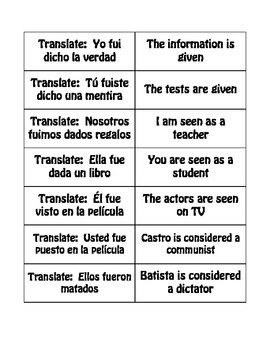 Spanish Passive Voice Buzz Game