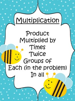 Buzz Words Posters for Word Problems-Bee Themed