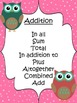 Buzz Words Posters for Word Problems-Owl Themed