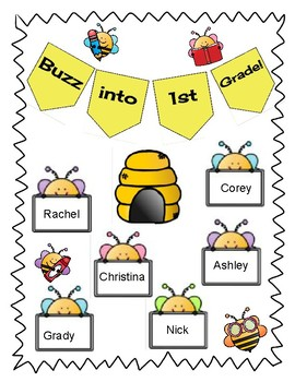 Buzz into 1st Grade Bulletin Board