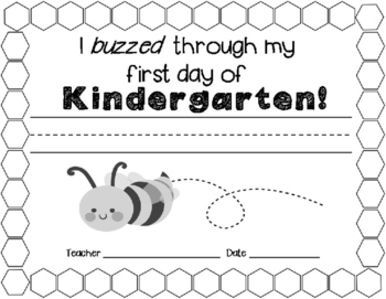 Bee Themed First Day Certificate
