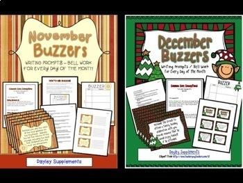 Buzzer Bundle Packet #2 (Bell Work-Journal) July to December