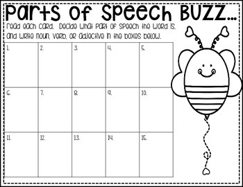 Buzzing About with Parts of Speech:  Task Cards