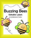 Buzzing Bee Themed Editable Labels in 3 Different Sizes