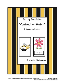 """Buzzing Bumblebee """"Contraction Match"""" Literacy Center"""