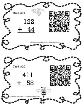Buzzing Into Addition - Math Center with QR Codes (no regrouping)