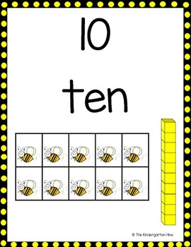 Buzzing for Numbers Bee Theme Number Posters 0-20