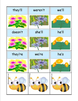 Buzzy Bee Contractions Card Game