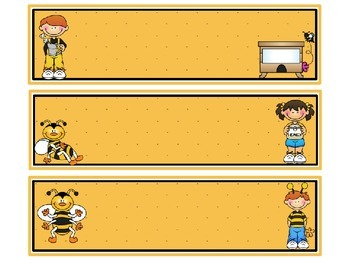 Buzzy Friends (Bee) Theme Blank Schedule Cards - Editable