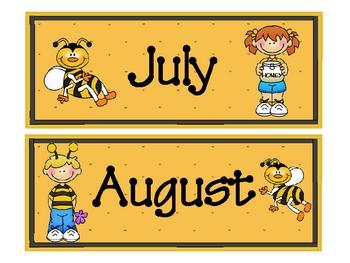 Buzzy Friends (Bee) Theme Calendar Months