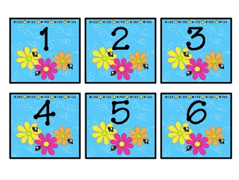 Buzzy Friends (Bee) Theme Calendar Numbers