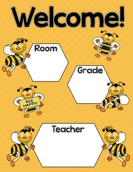 Buzzy Friends (Bee) Theme Welcome Sign