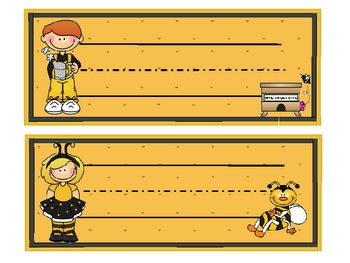 Buzzy Friends (Bee) Themed Nametags - EDITABLE