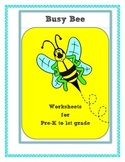 BEE THEME: cut/color/count fine motor skills for home or s