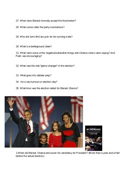 By The People-The Election of Barack Obama Viewing Questions and Answers