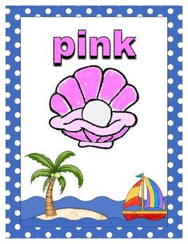 By the Beach Theme Color Wall Decor - Color Flash Cards with ocean / beach theme