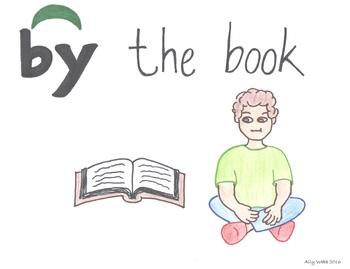 By the Book Cartoon--Printable Montessori Preposition/Grammar/Idiom Cards