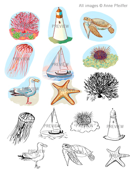 By the Sea Clip Art Illustrations