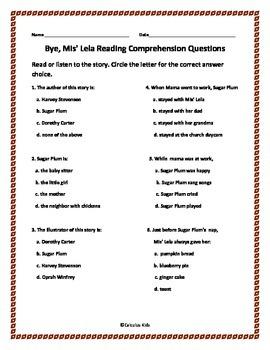 Bye Mis' Lela Reading Comprehension Activity