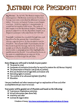 byzantine emperor justinian campaign poster by students of history. Black Bedroom Furniture Sets. Home Design Ideas
