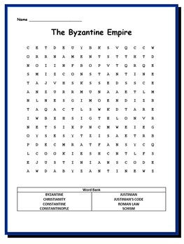 Byzantine Empire Bundle-1 Word Search & 1 Word Scramble
