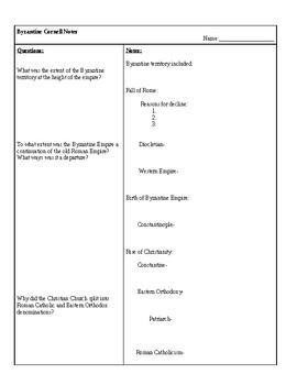 Byzantine Empire Cornell Notes